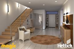 The Hettich Group is one of the world's leading manufacturers of furniture fittings. D Lighting, Lighting Design, Led Light Design, Aesthetic Value, Stairs, Entrance, Design Ideas, Magic, Furniture