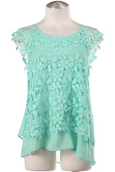LOVE IN BLOOM Mint Floral Crochet Chiffon Top -Shop Simply Me Boutique – Simply Me Boutique