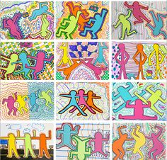 Graffiti color figures by Keith Haring This is a perfect lesson to get you through the end-of-the-year or even a mid-year slump. graders love the graffiti nature of Keith Haring. Art Lessons For Kids, Art Lessons Elementary, Art For Kids, Color Art Lessons, Elementary Art Rooms, Keith Haring Art, Third Grade Art, Grade 3 Art, Sixth Grade