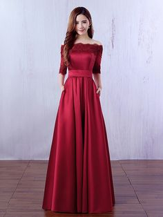 A-line Off-the-shoulder Satin Floor-length Appliques Lace Burgundy Prom Dress