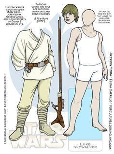 Luke Skywalker Star Wars paper Dolls © Elena Carrillo