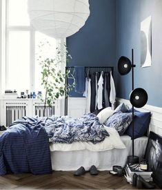 interiorbedroom bedroom washed cotton duvet cover white home set all hm us Washed Cotton Duvet Cover Set White Home All HM USYou can find Bedroom and more on our website Navy Blue Bedrooms, Blue Gray Bedroom, Blue Rooms, White Bedroom, Bedroom Colors, Home Decor Bedroom, Modern Bedroom, Bedroom Ideas, Master Bedroom