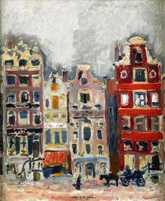 Kees van Dongen (1877-1968) was een in Nederland geboren kunstschilder, die een groot deel van zijn leven in Frankrijk heeft gewoond. Met zijn werk was hij een van de belangrijkste Nederlandse vertegenwoordigers van het fauvisme. Van Dongen was ook korte tijd lid van de Duitse expressionistische groep Die Brücke. - Houses in Amsterdam, 1907