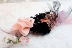 Peach Flowers & Black Velvet Fascinator decorated with by LaMaurer