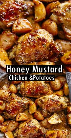 dinner recipes Honey Mustard Chicken & Potatoes Recipe honey mustard chìcken & potatoes ìs all made ìn one pan! succulent chìcken thìghs oven baked ìn the best honey mustard sauce makes an easy d. Healthy Dinner Recipes, Vegetarian Recipes, Healthy Chef, Eat Healthy, Yummy Dinner Ideas, Good Recipes For Dinner, Chicken Recipes For Dinner, Potatoe Dinner Recipes, Meat And Potatoes Recipes
