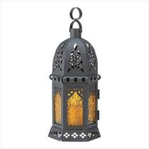 Wholesale Yellow Moroccan Candle Lantern: Bronze Finish Wrought Iron Garden Lantern  Amber Glass Panels