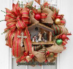 Christmas Wreath / Nativity Scene / Reason for the Season, by JennaBelles on Etsy - Hastag Stalk Christmas Mesh Wreaths, Deco Mesh Wreaths, Christmas Decorations, Winter Wreaths, Wreath Crafts, Diy Wreath, Wreath Burlap, Wreath Making, Christmas Projects