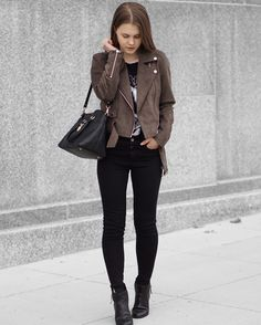 "A Little Detail - ""@denimjoy_"" // Fall Fashion // Aritzia Brown Suede Jacket // Style Stalker Karl Lagerfeld Graphic T-Shirt // High Waist Black Skinny Jeans // Black Ankle Boots // Calvin Klein Satchel // #fallfashion #womensfashion #outfit #suedejacket"