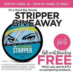 It's time to get rowdy! When you purchase $75 or more on pampering products, we'll also send you The Stripper for FREE. Don't wait - this deal ends on April 21st at 11am (MT)! Buy 5 Get the 6th Free, Portal purchases, tax, shipping, and any Perks applied excluded from qualifying total. *gift with purchase will be added to order history after eligible purchase is completed at checkout. https://cindyc.po.sh