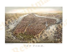 Manhattan New York with Battery Park in the foreground and Brooklyn Bridge on right 1873 NY0004 Vintage Reproducion Poster Print Map