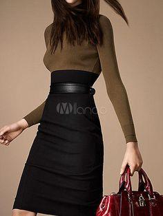 Mode Split couleur deux tons façonnage robe Vintage manches longues - Milanoo.com