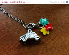 On Sale VW Beetle Charm Necklace Pewter with by ColorsoftheSeasons