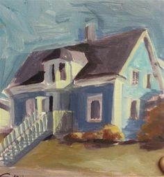 "Daily Paintworks - ""Mahone Bay House"" - Original Fine Art for Sale - © Liz Maynes"