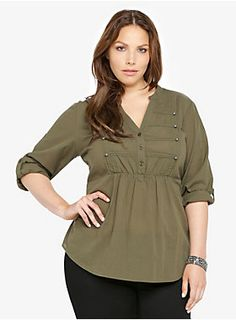 "Trend-focused military details - frogging on the front, a Mandarin collar and button-tabbed sleeves - edge up this shadow-striped olive green top.<ul><li> Size 1 measures 29 1/4"" from shoulder</li><li>Cotton</li><li>Wash cold; dry low</li><li>Imported</li></ul>"