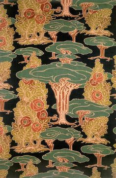 The Age of Roses, Day XXII: Stof met abstract Plantenmotief (Fabric with abstract plant motif) by Arthur Silver Motifs Textiles, Textile Patterns, Textile Prints, Textile Design, Fabric Design, Pattern Design, Print Patterns, Fabric Wallpaper, Of Wallpaper