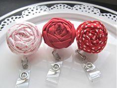 retractable id Fabric flower lanyard badge reel women accessories. $8.00, via Etsy.