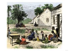 pictures of southern slave cabins | ... of African slaves outside their cabins on a southern plantation