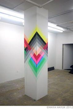 40 New Ideas Wall Murals Geometric Street Art Graffiti Wall, Street Art Graffiti, Mural Art, Wall Murals, Home Design, Wall Design, Columns Decor, Diy Wall Painting, Geometric Wall