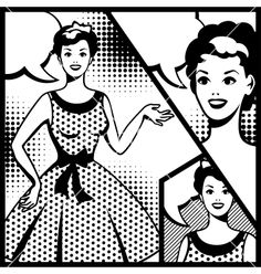 Retro girl in pop art style vector - by incomible on VectorStock®