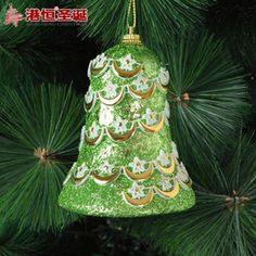 Discount Luxury Christmas Ornaments tree decoration accessories 10*7 cm foam green Christmas bells high-end luxury accessories 20 g styrofoam balls ornament party supplies