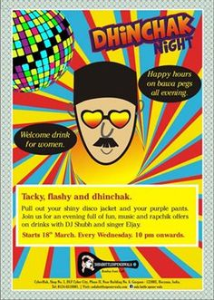 Pull out your shiny #disco jacket and your #purple pants, as Soda bottle opener wala presents #Dhinchak Nights every Wednesday 10 pm onward. http://www.pioneerchef.com/events/dhinchak-night-at-sodabottleopenerwala-gurgaon/