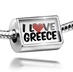 Sterling Silver Charm I Love Greece - Bead Fit All European Bracelets , Neonbl * Find out more about the great product at the image link.