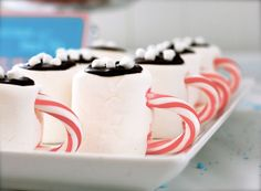 Marshmallow hot cocoa cups at a Winter Wonderland Party, perfect for Christmas too. See more party ideas at CatchMyParty.com.