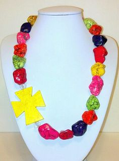 Fun Chunky Colorful Cross Necklace  by MalloryDeanne on Etsy, $28.00