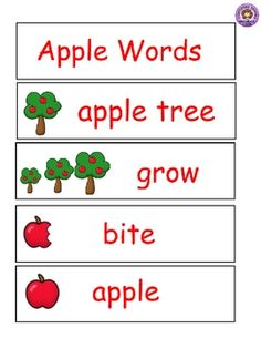 """Apple Words"" for Word Wall"