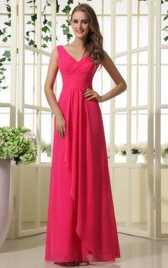 Ärmellos natürliche Taile V-Ausschnitt sittsames Brautjungfernkleid/ Abschlusskleid
