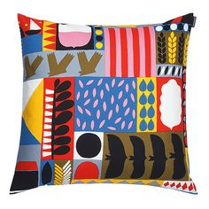 Named after the Swift bird, Tervapääsky showcases fields of crops, buildings, and other landscape markers in the form of abstract shapes as they would appear from high in the sky. Marimekko Tervapääsky Throw Pillow - $48