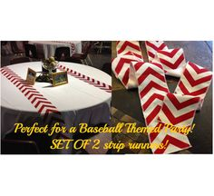 Baseball themed Modern, This listing is for a SET OF 2 Table Strip Runners. Serge finished edges to prevent fraying. Serge and Hemmed edge
