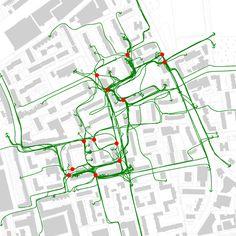 space syntax / pedestrian routes / shoreditch wentlock estate, london