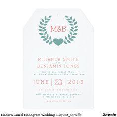 Modern Laurel Monogram Wedding Invitation