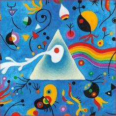 """A arte do espanhol Joan Miró (1893–1983) inspirou a variação para """"The dark side of the Moon"""" criada pelo designer Storm Thorgerson.  Veja mais em: http://semioticas1.blogspot.com.br/2013/03/pink-floyd-na-lua.html"""