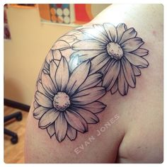 Flower tattoo sunflower tattoo on shoulder, floral shoulder tattoos, tattoo placement shoulder, back Sunflower Tattoo Sleeve, Sunflower Tattoo Shoulder, Sunflower Tattoo Small, Sunflower Tattoos, Sunflower Tattoo Design, Small Daisy Tattoo, Daisy Tattoo Designs, Mom Tattoos, Future Tattoos