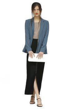 Summer 2013 Trend: High Rise (Avelon skirt, blazer and top. Me Char clutch; Osklen sandals.)