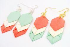 Coral/Mint Chevron Origami Earrings.
