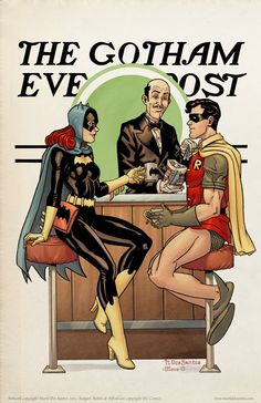 Batgirl, Robin and Alfred - Gotham Evening Post by Mark DosSantos