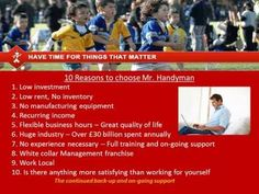 www.mrhandymanfranchise.co.uk Start your own Business Call Rob@MrHandymanservices.co.uk Starting Your Own Business, Have Time, Flexibility, Investing, Let It Be, Youtube, Life, Back Walkover, Youtubers