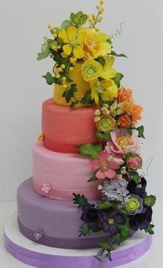 Symphony of colors Wedding Cake  www.tablescapesbydesign.com https://www.facebook.com/pages/Tablescapes-By-Design/129811416695