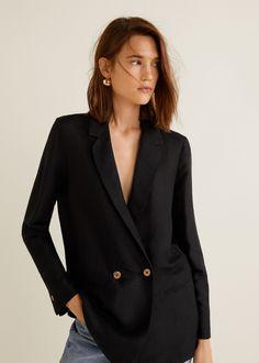 96ffd18f5dad Black Blazer Long Blazer, Blazer Jacket, Blazer Suit, Office Look Women,  Mango