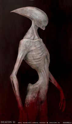 "Concept art for the Deacon Alien by Ivan Manzella for ""Prometheus"" (2013).  Early designs had the Deacon with a ghostly white patina to his skin, a far cry from the original Giger designs with their inky black armor and more biomechanical appearance."