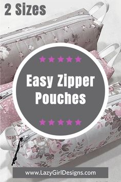 Zipper Pouch Made With Pink and Gray Rose Print Fabric
