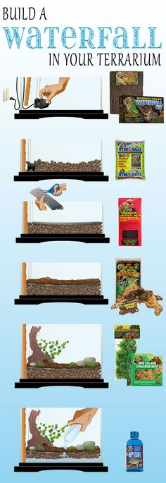 6 easy steps to build a DIY waterfall in your terrarium Put water pu. Here are 6 easy steps to build a DIY waterfall in your terrarium Put water pu. Here are 6 easy steps to build a DIY waterfall in your terrarium Put water pu. Reptile Habitat, Reptile Room, Reptile Cage, Reptile Enclosure, Terrarium Diy, Terrarium Reptile, Terrarium Centerpiece, Planted Aquarium, Aquarium Fish