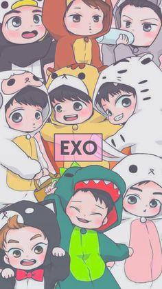Kpop Exo, Suho Exo, Exo Ot12, Exo Kai, Lay Exo, Vixx, Shinee, Exo Cartoon, Cartoon Art
