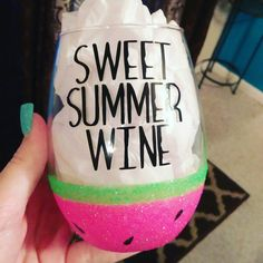 Sweet Summer Wine - Stemless Wine Glass - Watermelon - Glitter Dipped - Lime Green - Pink - Neon - Cute - Fruit - Summer Wedding by on Etsy
