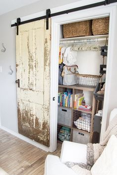 Finally a step-by-step walkthrough on how to install an antique barn door! www.tableandheart...
