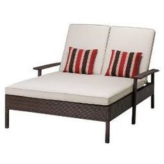 Target Threshold™ Rolston Wicker Patio Double Chaise Lounge | Patio Furniture | Pinterest | Chaise lounges  sc 1 st  Pinterest : target chaise lounge - Sectionals, Sofas & Couches