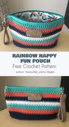 Fantastic No Cost Crochet basket rainbow Popular Rainbow Happy Fun Pouch Free Crochet Pattern Crochet Pouch, Crochet Diy, Crochet Gifts, Crochet Bags, Crochet Pencil Case, Crochet Beach Bags, Free Crochet Bag, Doilies Crochet, Crochet Baskets